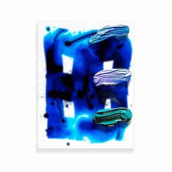 Blue Grid Strokes Print 1
